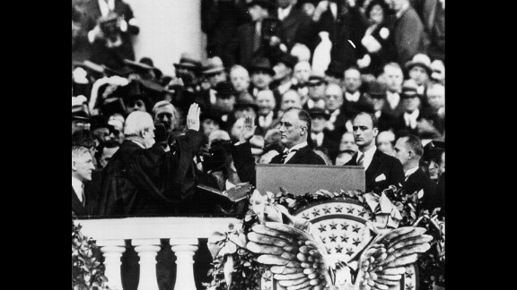 Franklin D. Roosevelt is sworn in for his first term in 1933. He won four presidential elections and served in office until his death in 1945. The 22nd Amendment, ratified in 1951, ensured that he would be the last US president to serve more than two terms.