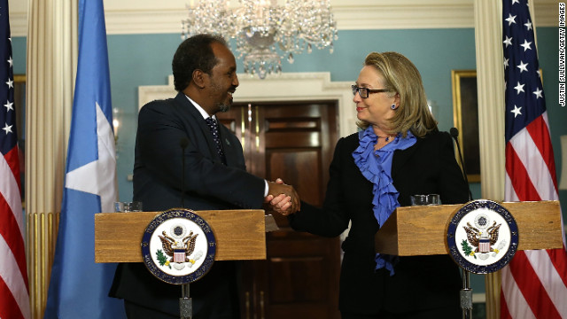 Secretary of State Hillary Clinton shakes hands with Somali President Hassan Sheikh Mohamud on Thursday in Washington.