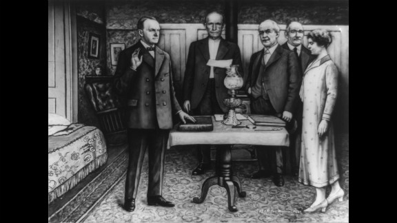 Calvin Coolidge takes the oath of office in Plymouth, Vermont, in August 1923. President Warren G. Harding had just died, and Coolidge was vice president. Coolidge
