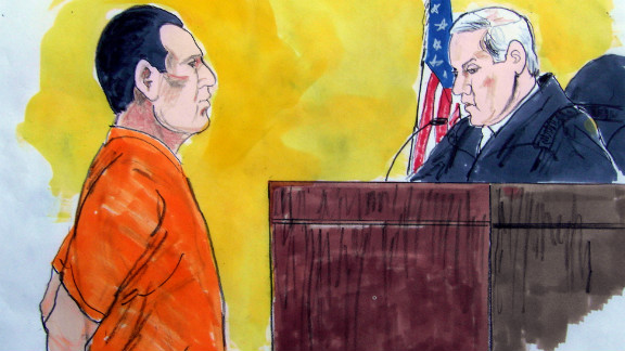 In a courtroom drawing, David Coleman Headley pleads guilty in U.S. District Court in Chicago in 2010.