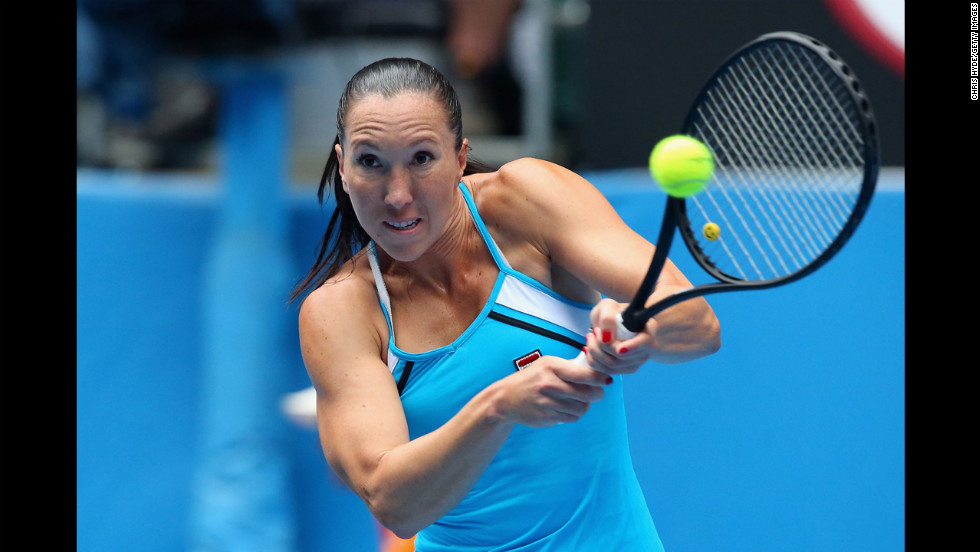 Jankovic plays a backhand in her third round match against Ivanovic on January 18.