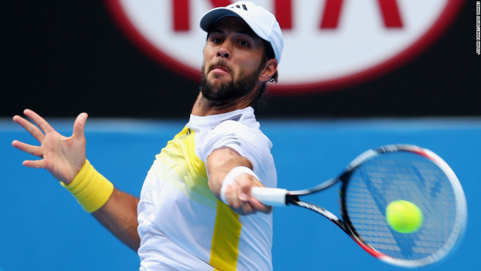 Fernando Verdasco of Spain plays a forehand in his third-round match against Kevin Anderson of South Africa on January 18. Anderson won 4-6, 6-3, 4-6, 7-6 (4), 6-2.