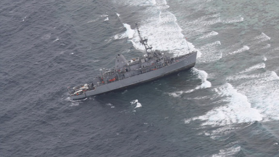 A photo taken Thursday by Philippine Western Command shows the USS Guardian after it ran aground on the Tubbataha Reef.