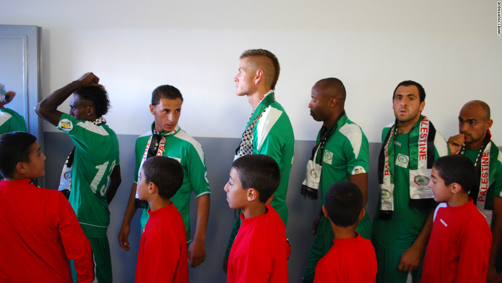 Ibrahim is not the first U.S. soccer star to move abroad. National teams across the world, including Palestine, Haiti and Afghanistan, have tapped into their American diasporas to bolster their squads. Omar Jarun (pictured center, who was born in Kuwait to an American mother and Palestinian father, was raised in Georgia but now plays for the Palestinian national soccer team.
