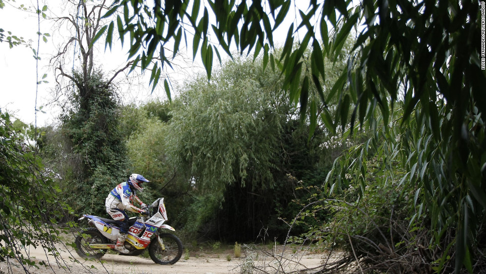 Chile's Francisco Lopez Contardo rides his KTM during the 14th stage of the Dakar Rally 2013 on January 19.