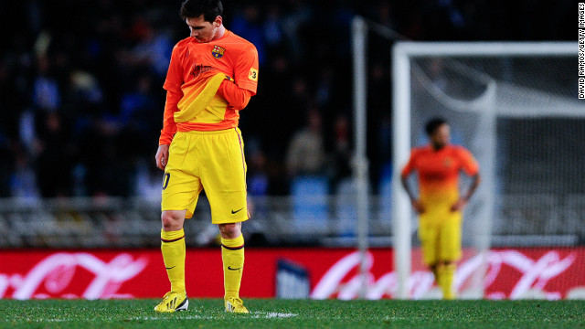 A disconsolate Lionel Messi ponders Barcelona's first defeat of the La Liga season.