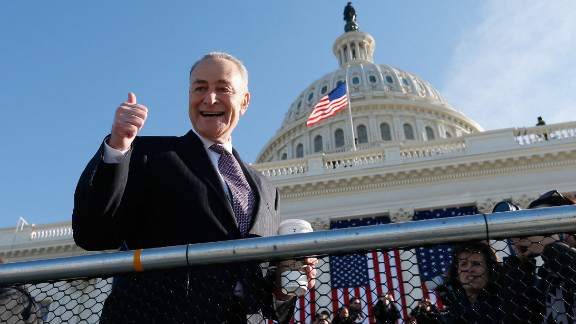 Democratic Sen. Charles Schumer of New York greets people at the Capitol on Sunday.