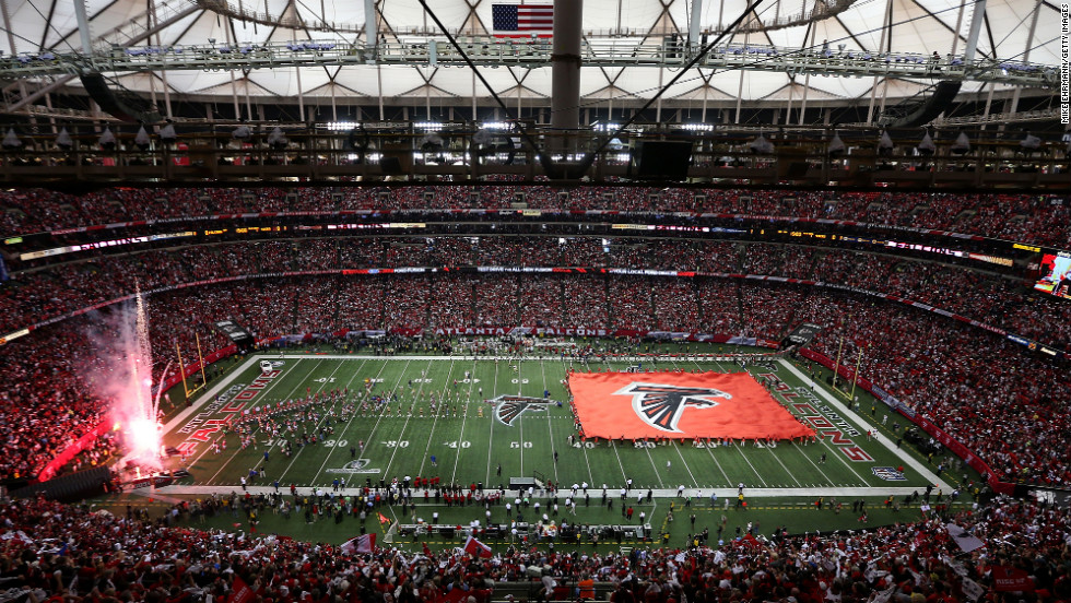 The Atlanta Falcons are introduced before taking on the San Francisco 49ers. Sunday marked the first time Atlanta hosted the NFC Championship Game.