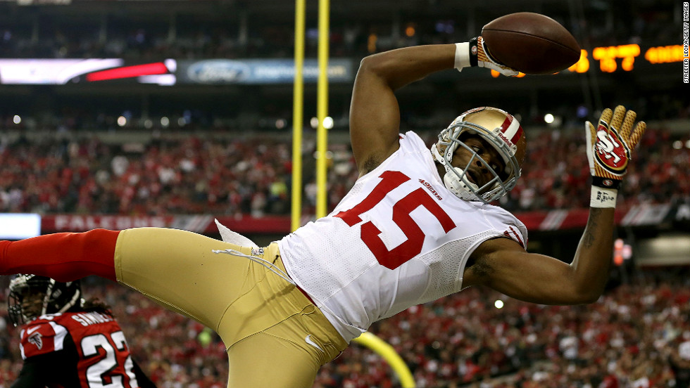 Michael Crabtree of the 49ers is unable to come down in bounds in the end zone.