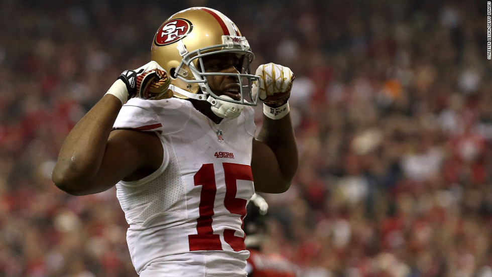 Michael Crabtree of the San Francisco 49ers celebrates after catching a 33-yard pass in the fourth quarter.