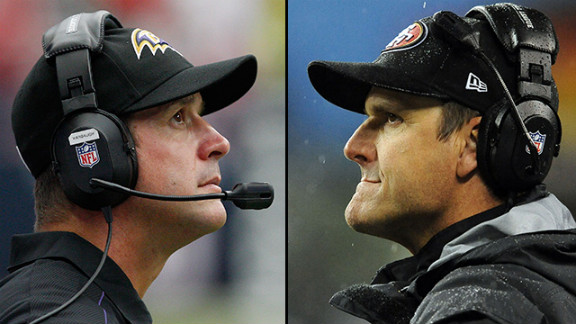 John Harbaugh, left, and Jim Harbaugh became the first siblings to face each other as coaches in a major sports match-up on Super Bowl Sunday in 2013. Older brother John Harbaugh