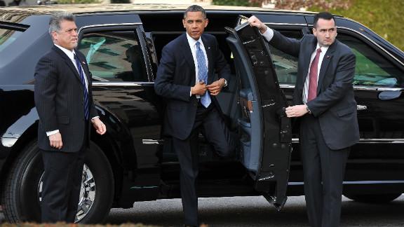 President Barack Obama arrives Monday at St. John