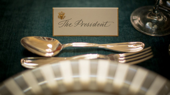 A place card awaits President Barack Obama for Monday