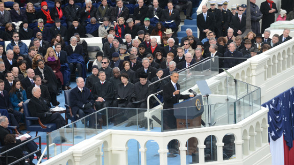 Obama speaks after taking the oath of office on January 21.