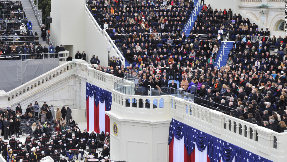 President Barack Obama delivers his inaugural address January 21. A flag-waving crowd was noticeably smaller than those who turned out four years ago, but it still packed the National Mall for blocks.