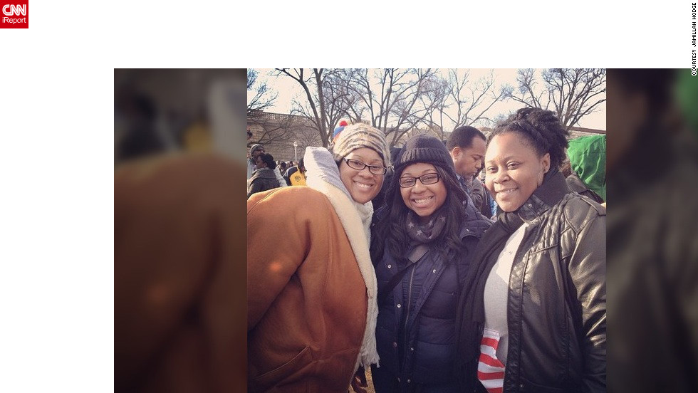 """This is something I can tell my kids and grandkids about when I get older,"" said Jamillah Hodge (@2punkins), left, who lives in Carneys Point, New Jersey, and caught a bus with her best friends to D.C.  ""My favorite moment was when Barack Obama entered the Capitol and said, 'I've missed this place!' Loved It!"""