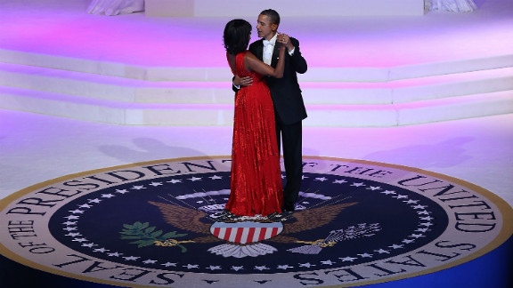 President Barack Obama dances with first lady Michelle Obama at the Commander-in-Chief Ball in Washington on Monday, January 21. Obama was sworn-in for his second term as president during a public ceremonial inauguration earlier in the day.