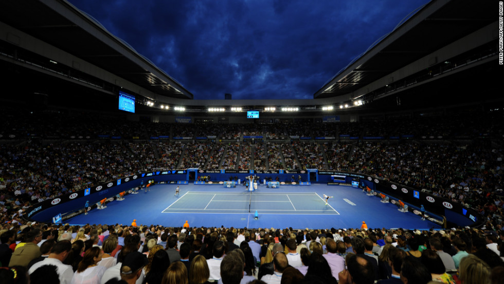Fans watch Djokovic and Berdych play on January 22.
