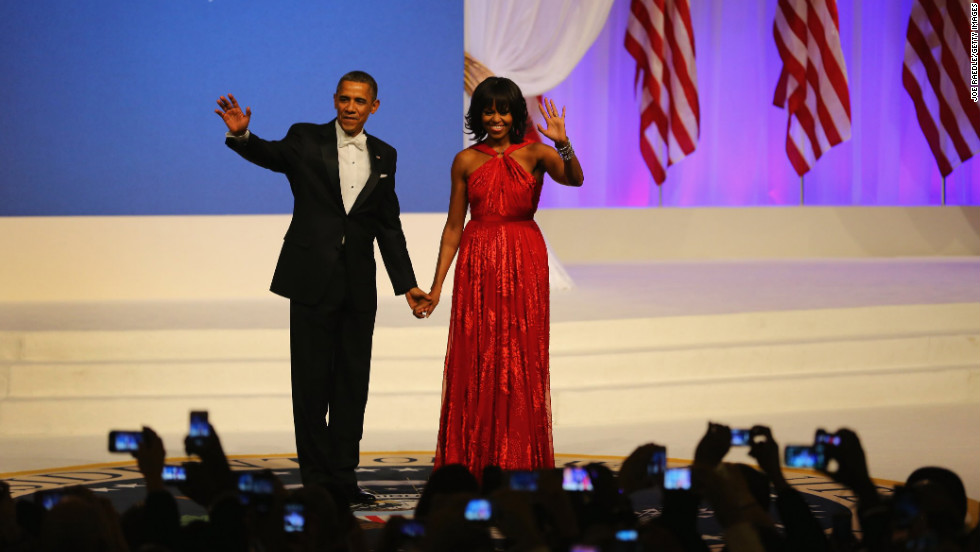 President Obama and the first lady greet the crowd at the Inaugural Ball.