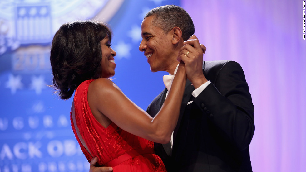 The president and first lady share a moment during the Commander-in-Chief's Ball on January 21.