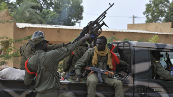 Malian soldiers patrol Diabaly on January 22.