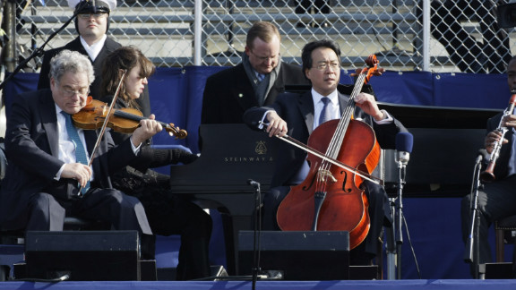 """Cold temperatures forced Cellist Yo-Yo Ma and violinist Itzhak Perlman to mime along to a prerecording during President Barack Obama's first inauguration four years ago. """"I really wanted to do something that was absolutely physically and emotionally and, timing-wise, genuine,"""" Ma told <a href=""""http://www.nytimes.com/2009/01/23/arts/music/23band.html"""" target=""""_blank"""" target=""""_blank"""">The New York Times</a> in 2009. """"We also knew we couldn't have any technical or instrumental malfunction on that occasion. A broken string was not an option. It was wicked cold."""""""