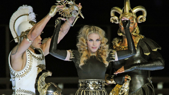 """Madonna was <a href=""""http://dallas.sbnation.com/2012/2/5/2773985/2012-superbowl-halftime-show-madonna"""" target=""""_blank"""" target=""""_blank"""">accused of lip-syncing</a> during the Super Bowl halftime show in 2009. But in all fairness, she was dancing around quite a bit."""