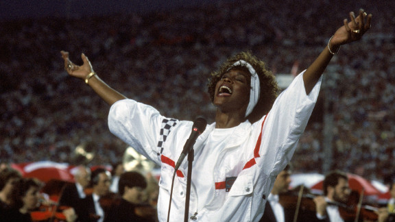 """Whitney Houston is believed to have lip-synced her impressive rendition of """"The Star-Spangled Banner"""" at the 1991 Super Bowl. Her spokesperson at the time <a href=""""http://blogs.wsj.com/speakeasy/2012/02/14/does-it-matter-if-whitney-houstons-star-spangled-banner-was-lip-synched/"""" target=""""_blank"""" target=""""_blank"""">said she was singing</a>, but her mic was turned off so viewers heard a prerecorded track."""
