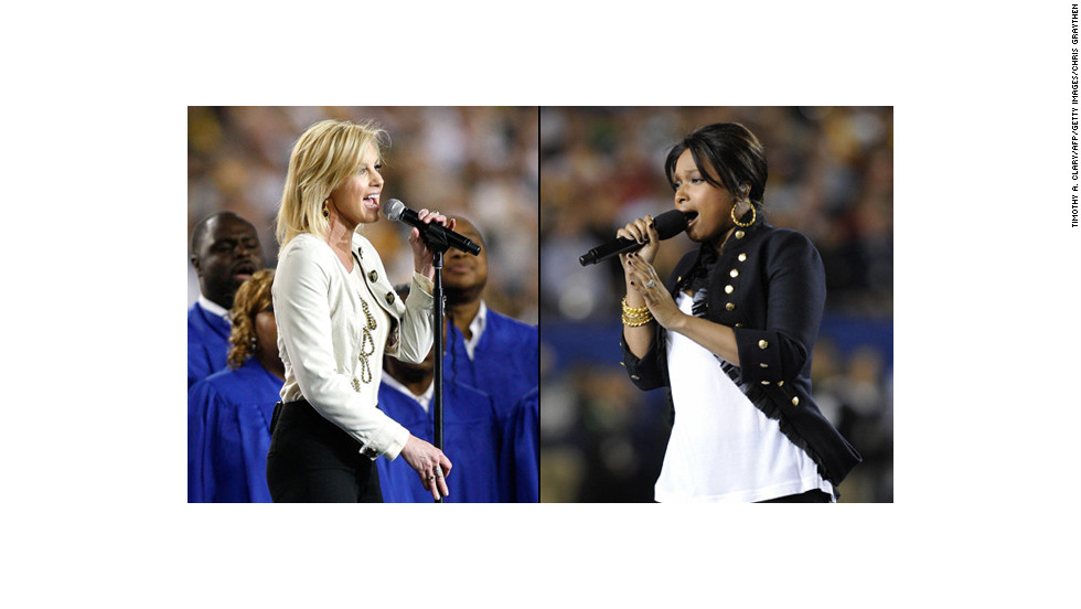 "Jennifer Hudson and Faith Hill <a href=""http://artsbeat.blogs.nytimes.com/2009/02/02/super-bowl-performances-used-recorded-tracks/"" target=""_blank"">reportedly sang along</a> to prerecorded renditions during their performances at the 2009 Super Bowl."