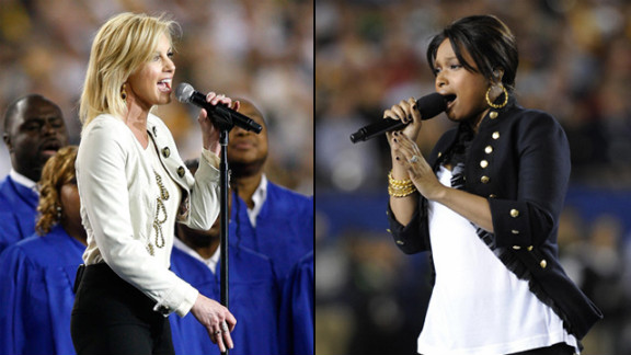 """Jennifer Hudson and Faith Hill <a href=""""http://artsbeat.blogs.nytimes.com/2009/02/02/super-bowl-performances-used-recorded-tracks/"""" target=""""_blank"""" target=""""_blank"""">reportedly sang along</a> to prerecorded renditions during their performances at the 2009 Super Bowl."""