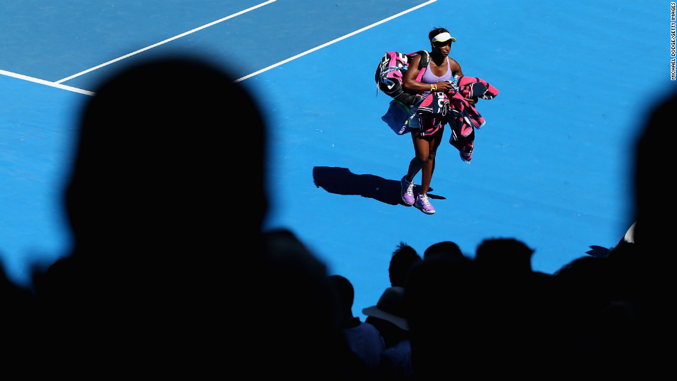 Stephens walks off the court Wednesday after winning her quarterfinal match against Williams at the Australian Open.