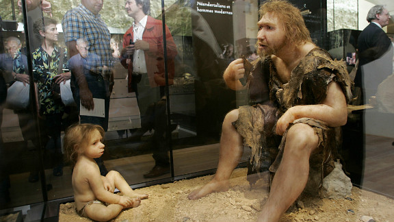 A display of a reconstruction of a Neanderthal man and boy at the Museum for Prehistory in Eyzies-de-Tayac, France.