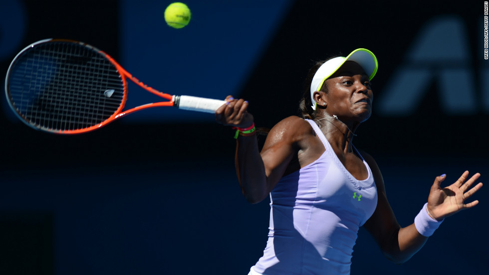 Stephens plays a return against Azarenka on January 24.