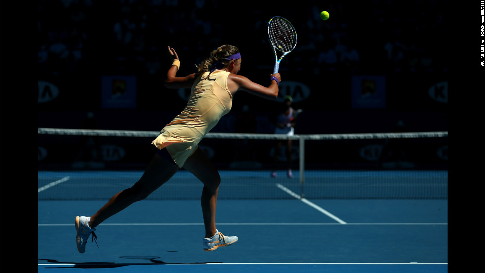 Azarenka plays a forehand against Stephens on January 24.