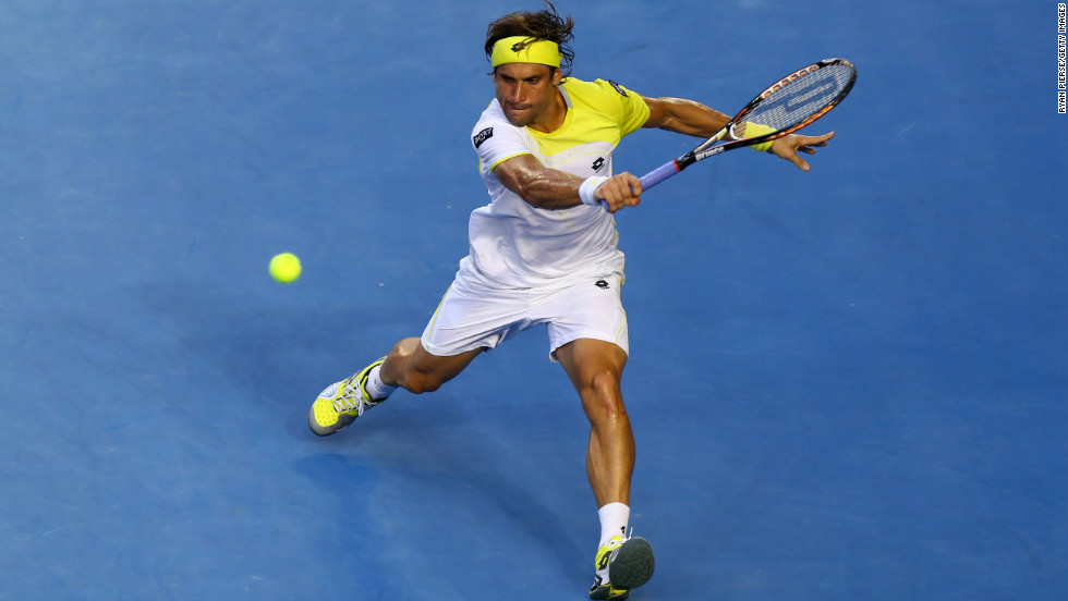 Ferrer plays a backhand against Djokovic on January 24.