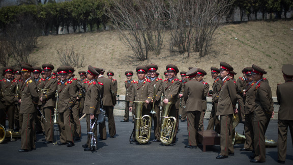 Members of a North Korean military band gather following an official ceremony at the Kim Il Sung stadium in Pyongyang in April 2012.