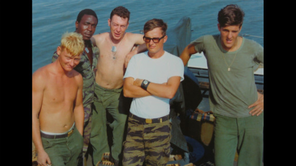 Kerry with other military personnel in an unspecified location in the 1960s. During his naval service in the Vietnam War, Kerry was awarded the Bronze Star for saving the life of a serviceman as an officer aboard a patrol boat in the Mekong Delta. In total, Kerry received a Silver Star, a Bronze Star with Combat V and three Purple Hearts for his service in combat. After he was awarded the Purple Hearts for minor injuries, Kerry's request for reassignment Stateside six months early was granted.