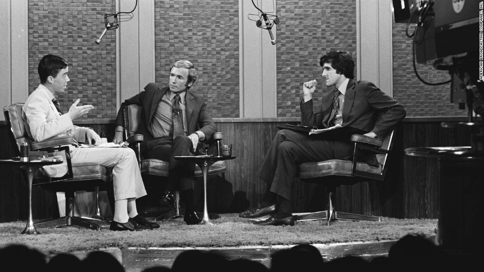 John O'Neill, left, and Kerry, both decorated war veterans and lieutenants junior grade in the Navy and commanders of swift boats that policed the rivers of Vietnam, discussed their opposing views of the Vietnam War with host Dick Cavett, center, on September 24, 1971.