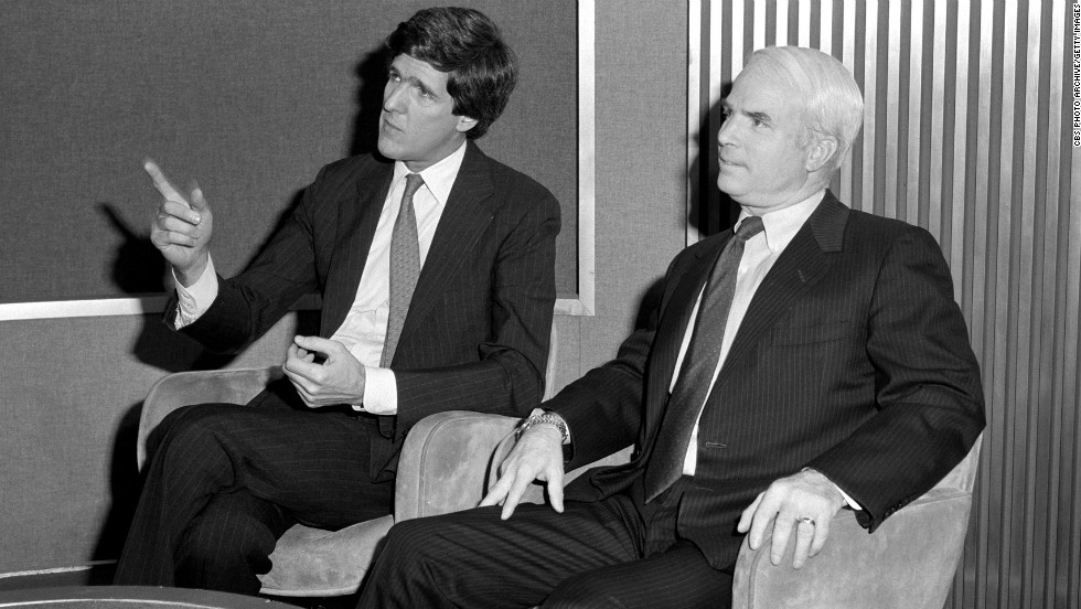"Kerry and Rep. John McCain appear on the TV program ""Face The Nation"" on April 21, 1985."