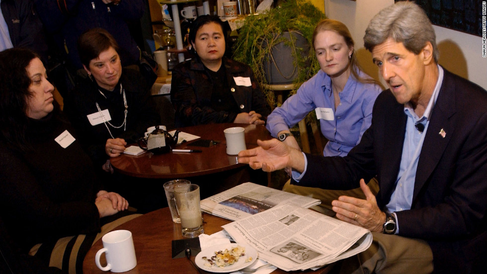 Kerry speaks to local businesswomen on November 17, 2003, in Des Moines, Iowa.