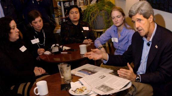 Kerry speaks to local businesswomen on November 17, 2003, in Des Moines, Iowa.