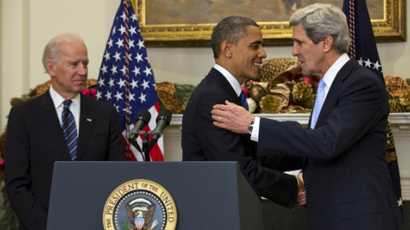 President Barack Obama shakes hands Kerry after announcing his nomination to be secretary of state on December 21 in Washington. If confirmed, Kerry will replace retiring Secretary of State Hillary Clinton early in 2013.