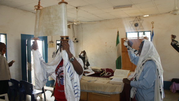 Honoring the presentation of the Torah at a synagogue near Abuja. (Courtesy: Chika Oduah.)