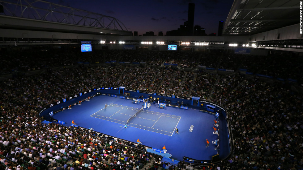 Andy Murray of Great Britain and Roger Federer of Switzerland play their semifinal match in Rod Laver Arena on January 25.