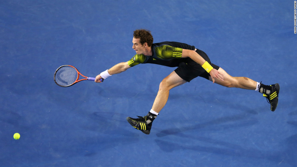 Andy Murray of Great Britain plays a forehand on January 25.