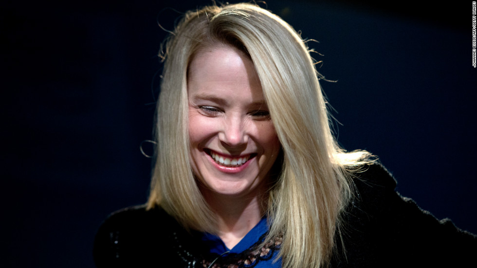 Marissa Mayer, CEO of Yahoo!, is all smiles during her session at the World Economic Forum.