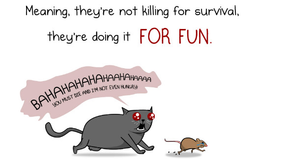 """Cats get equal time, although Inman has no illusions about their behavior. Witness this panel from """"How much do cats actually kill?"""""""