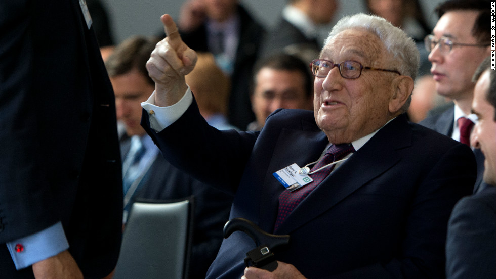 Former US secretary of state Henry Kissinger both spoke and attended sessions at the forum, as well as doing some obligatory finger pointing.