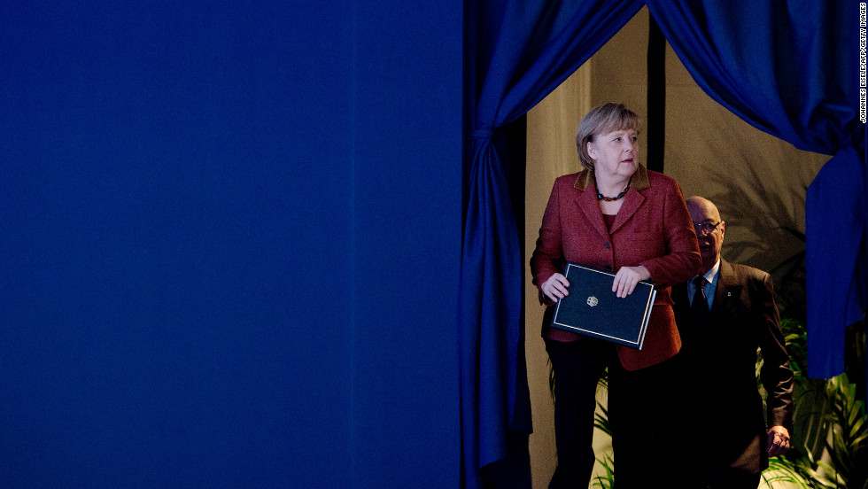 German Chancellor Angela Merkel arrives for her session on January 24, 2013.