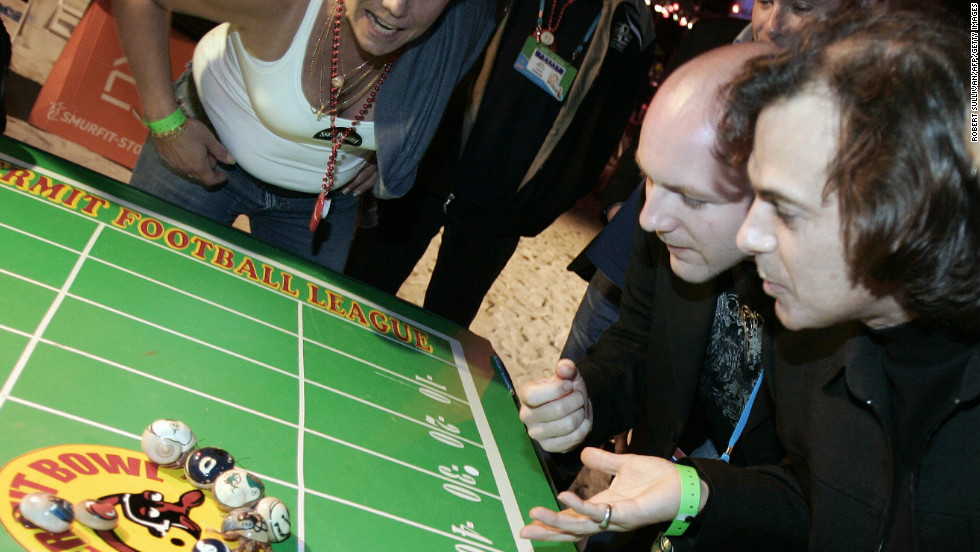 Regionally unique games, like this hermit crab race during Super Bowl XLI at Miami's Dolphins Stadium, add local flair to the party.